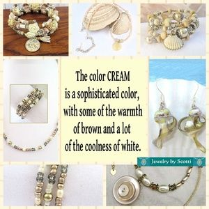 Cream Color Necklaces, Earrings, and Bracelets